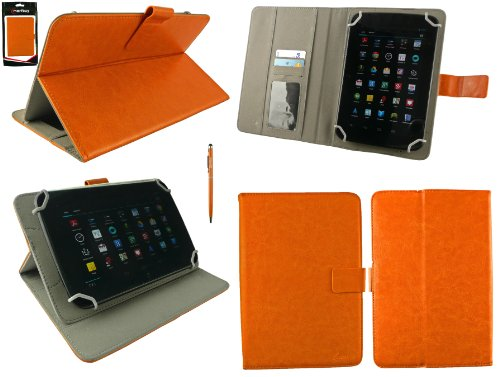 Emartbuy® AlpenTab 7 Zoll Tablet PC Universalbereich Orange Multi Winkel Folio Executive Hülle Cover Wallet Hülle Schutzhülle mit Kartensteckplätze + Orange 2 in 1 Eingabestift