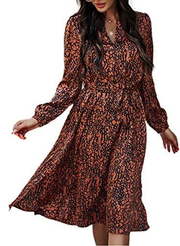 CORAFRITZ Vestido largo de manga larga con cordón y cintura para mujer