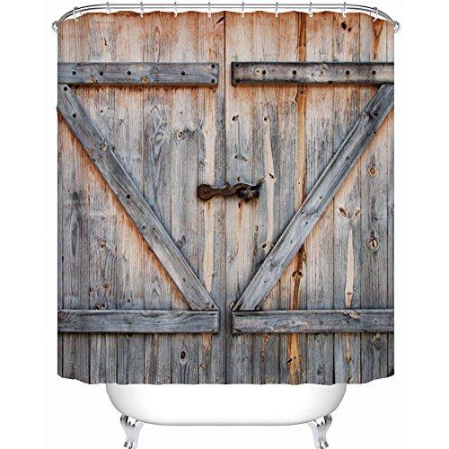 Maofacegirl Badezimmer-Duschvorhang-Sätze, 3D gedrucktes Retro Weinlese-hölzernes Tür-Muster, wasserdichtes Mehltau-widerstandsfähiges, mit Haken. (180 * 200cm)