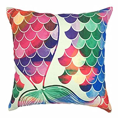 YOUR SMILE Mermaid Cotton Linen Decorative Throw Pillow Case Cushion Cover Pillowcase for Sofa 18 x 18 Inch,Pink