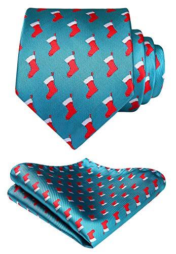 HISDERN Herren Weihnachts Krawatte Socke Woven Party Krawatte & Einstecktuch Set