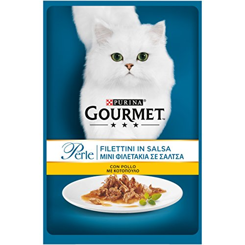 Purina Gourmet Perle Umido Gatto Filettini in Salsa con Pollo, 24 Buste da 85 g Ciascuna, Confezione da 24 x 85 g