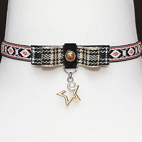 choker Steampunk collar niña Bordado de estilo étnico,gargantilla de cuero con remaches,longitud ajustable,hecho a mano,gargantilla de tatuaje con colgante gótico para mujeres adolescentes y niñas