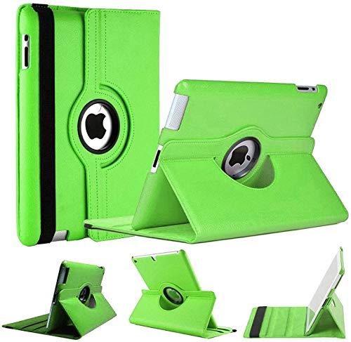 Funda para iPad, World Biz [funda tipo cartera] a prueba de golpes, piel sintética, estilo libro, funda de protección total giratoria de 360° con función de soporte plegable. (Apple iPad Air 2, verde)