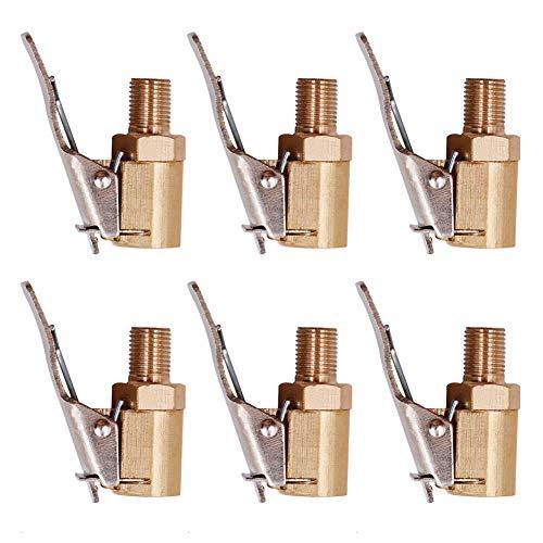 QSXX Boquilla Inflado Neumático, 6Piezas 8mm Boquillas Inflado Neumático Latón,Boquilla Inflador Abrazadera Válvula,Boquilla de Rosca de Bomba de Aire,Boquilla de Clip de Cabeza de Conversión Rápida