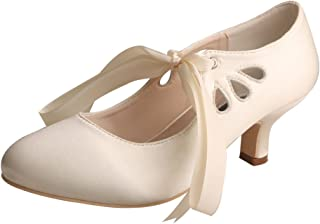 Wedopus MW7051 Women Pumps Cut Out Closed Toe Mary Jane Heels Satin Lace up Shoes Wedding for Bride