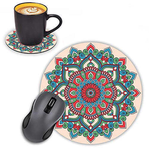 Log Zog Round Mouse Pad with Coasters Set, Abstract Round Ornament Circle Mandala Pattern Design Mouse Pad Non-Slip Rubber Mousepad Office Accessories Desk Decor Mouse Pads for Computers Laptop
