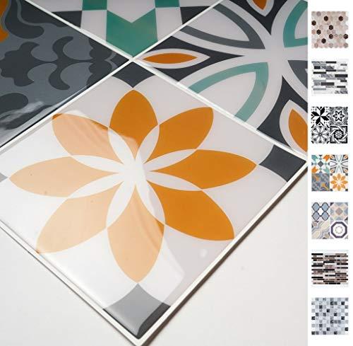 Antevia – Azulejos adhesivos de pared 3D mosaico autoadhesivos – Lote de 6 (Multi 02-CC) superficie: 0,558 m2