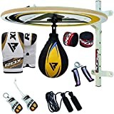 RDX 12PC Boxen Drehkugellagerung Boxbirne Set MMA Doppelendball Drehwirbel Rindsleder Speedball Punchingbälle(MEHRWEG)