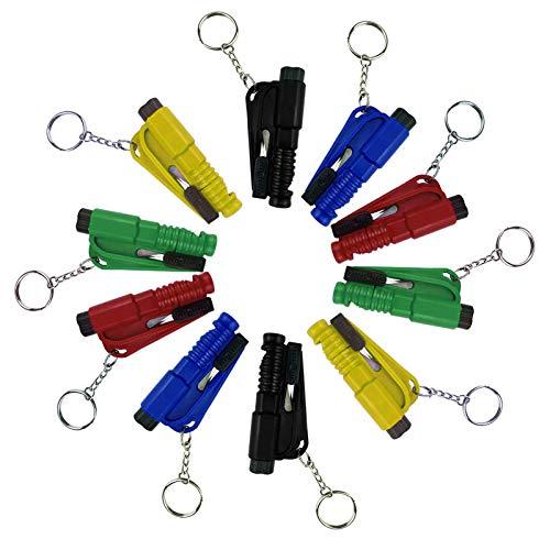 Jusen 10PCS Portable Window Breaker Key Ring with Cutter Glass Breaker car Emergency Escape Tool