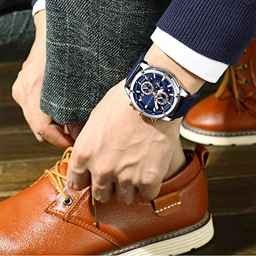 Men Watches Business, MF MINI FOCUS Quartz Wrist Watch (Fashion, Blue, Casual), Design Leather Band Strap Wristwatchs for Men Gift