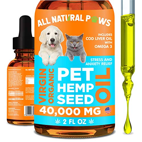 All Natural Paws Pet Hemp Seed Oil for Cats & Dogs | with Cod Liver Oil & Omega | for Hip & Joint Health  Anxiety & Seizure Relief  Better Sleep | Anti-inflammatory & Pain Relief Supplement for Dogs