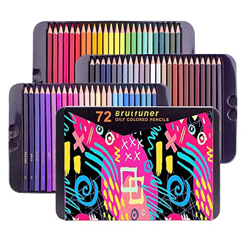 72 Colored Pencils Set with Tin Box,Square Barrels Drawing Supplies for Beginners Professional Artist Pencils for Adult Coloring Books, Sketching Shading Coloring