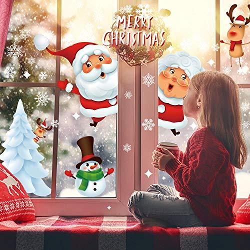 Voqeen Pegatinas navideñas para Ventanas, Adhesivos para Ventanas de Doble Cara, Santa Rudolph, Copos de Nieve, muñeco de Nieve, Adornos para Ventanas, Pegatinas estáticas de PVC