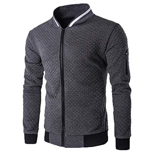 Mr.1991INC&Miss.GO Men's Casual Sports Cardigan for Autumn and Winter Solid Color Jacket Dark Gray