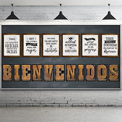 Spanish Industrial Chic Bulletin Board Set Inspirational Quote Posters Motivational Work Posters with Welcome Letter and Positive Affirmation for Kid Classroom Office Bedroom Wall Art Decoration
