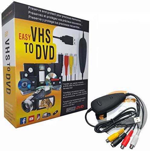 FONCBIEN Convertitore VHS in Dvd, USB 2.0 Audio Video Grabber Convertitore,Videoregistratore VHS Capture Grabber Video USB per Windows XP Vista(32bit 64bit) 7 8