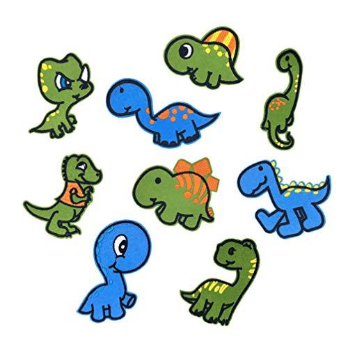 KESYOO 9 Stks Cartoon Borduurwerkflarden Naaien Cartoon Dinosaurus Geborduurde Stof Sticker Cartoon Arts Ambachten Patch Diy Voor Cap T-Shirt Jeans (9 Geassorteerde Patroon)