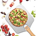 Aluminum Metal Pizza Peel with Foldable Wood Handle for Easy Storage, 12 Inch x 14 Inch pizza paddle, for Baking Pizza&Bread, Great Pizza Peel for Homemade Pizza Lovers