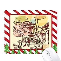 タイ短いストローク豊かな村 ゴムクリスマスキャンディマウスパッド