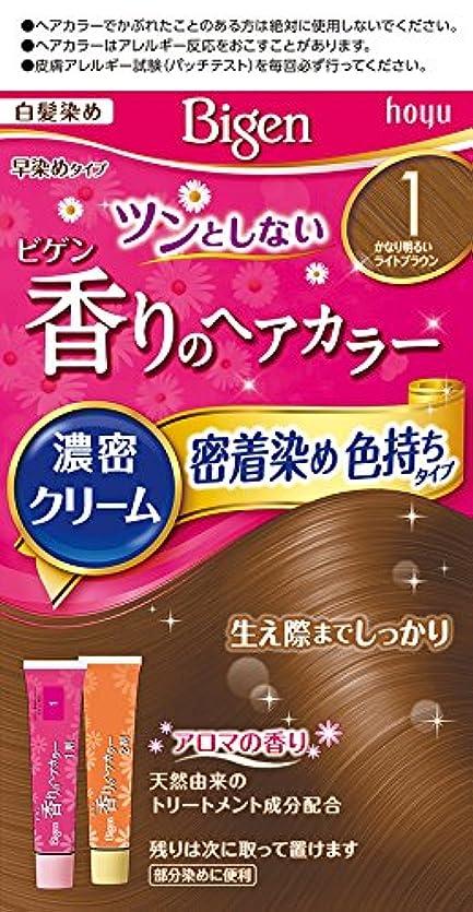 一瞬可能性基準ホーユー ビゲン香りのヘアカラークリーム1 かなり明るいライトブラウン 40g+40g