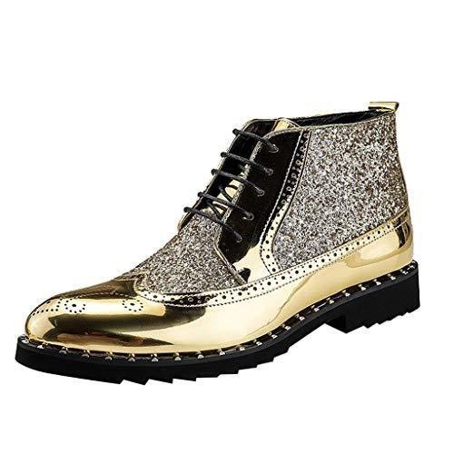 Zapatos de Vestir para Hombre Botines de Combate Antideslizantes Invierno Botas Planos Fiesta Zapatos Altos Zapatillas Deportivos