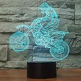 3D Ilusión Optica Moto Luz Nocturna 7 Colores Cambio de Botón Táctil USB de Suministro de Energía LED Lámpara de Mesa Lámpara Regalo de Navidad Cumpleaños