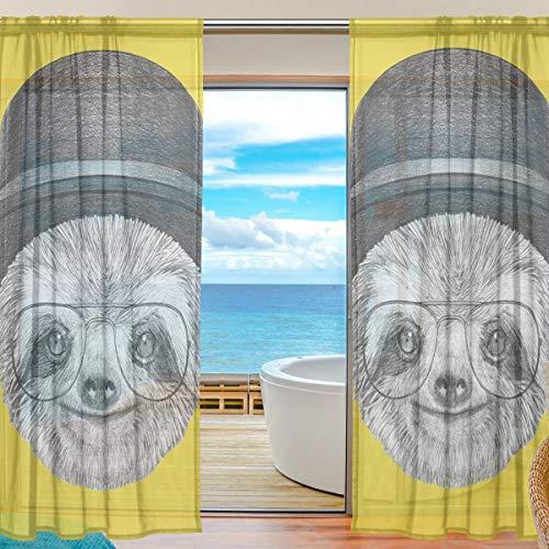 TIZORAX luiaard met hoed en bril Sheer gordijnen voor woonkamer, staaf Pocket raambehandeling gordijn Sheer Voile paneel voor slaapkamer, 1 paar, 55 x 78 Inch