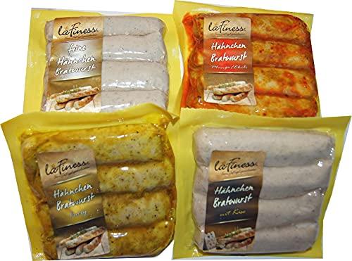 Hähnchen Bratwurst 100% Hähnchenfleisch, Geflügelbratwurst Natur, Mango Chili, Käse & Curry Bratwurst Geflügel ohne Haut (4er Set, 800g)