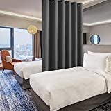 Hiasan Privacy Room Divider Curtain - Thermal Insulated Sliding Door Vertical Blind Curtain, Extra Wide Blackout Curtains for Living Room, Closet, Bedroom Partition, Dark Grey, 8.3 ft W x 7 ft L