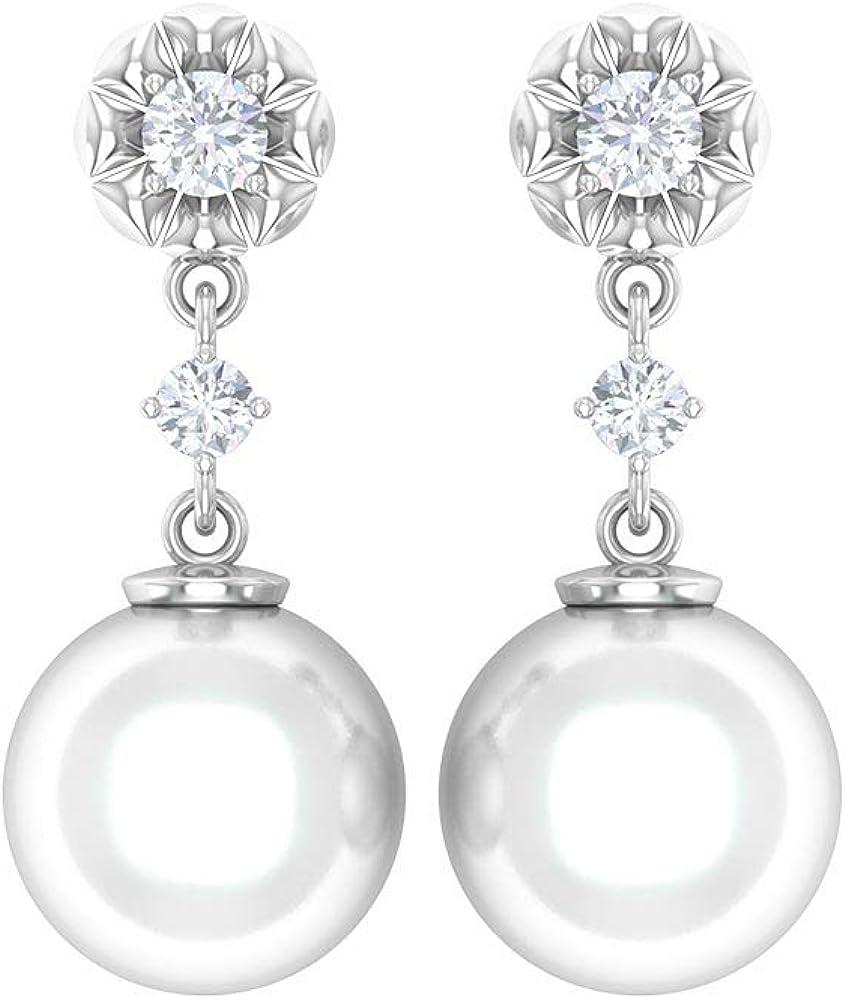 Flower Dangle Earrings, HI-SI Round Diamond Earrings, 8 CT 8 MM Pearl Drop Earrings, Vintage Bridal Wedding Earrings, Freshwater Pearl Earrings, Screw back