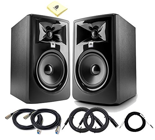 """JBL 305P MkII 5-inch Powered Studio Monitor (Pair) 2-way 82W Powered Studio Reference Monitors with 5"""" Woofer, 1"""" Tweeter & Magnetic Shielding (pair) with Cables Bundle and Zorro Cloth"""