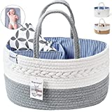 Ropesmart Baby Diaper Caddy Organizer,Portable Diaper Caddy,Cotton Rope Shower Gift Basket,Diaper Storage Basket for Changing Table & Car with Removable dividers,Portable Changing Pad-inc(Gray)