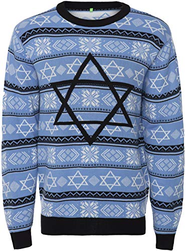Men's Sweater Ugly Holiday Jewish Christmas, Night Before Hanukkah Star of David - Large