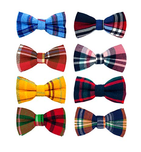 PET SHOW 8pcs Christmas Plaid Small Dogs Collar Bow Ties Puppies Cats Collar Charms Accessories Slides Attachment Bowties For Birthday Wedding Parties Assorted