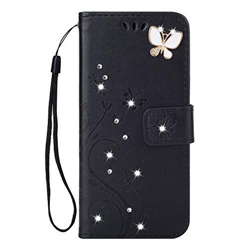 Homikon PU Leder Hülle Retro Schön Schmetterling Blume Schutzhülle für Mädchen Brieftasche Ledertasche Bling Glänzend Glitzer Diamant Handyhülle Etui Kompatibel mit Samsung Galaxy S4 - Schwarz