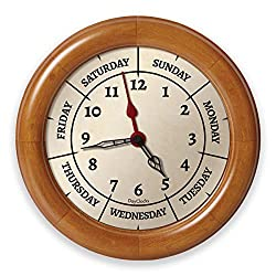 DayClocks Time & Day of The Week Wall Clock – Analog Clock with Time & Days of The Week – Home or Office Wall Clock with Days of The Week – Great Retirement Clock - 9.5 Pine Wood Frame