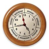 DayClocks Combination Analog Wall Clock – Time of Day and Day of The Week Wall Clock - Fun Retirement Gift – Pine Wood Frame