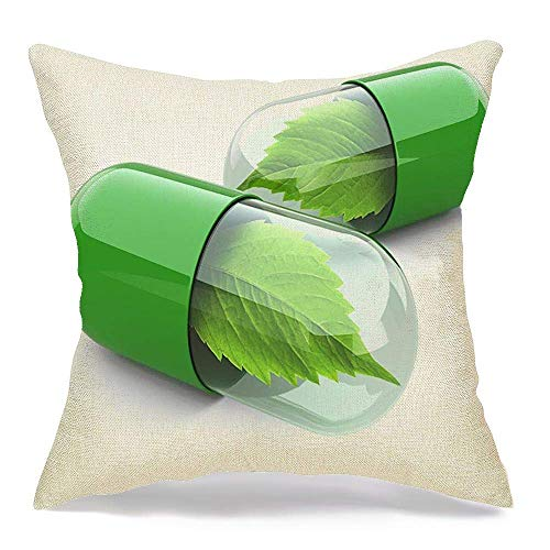 Pamela Hill Throw Pillow Covers Case Isolated Natural Vitamin Pills Alternative Health Medicine 3D Signs Symbols Healthcare Medical 18 x 18 Inch
