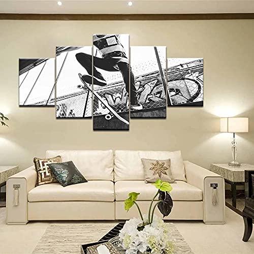 HGFDS Cuadros Modernos Impresión de Imagen Artística Digitalizada Garçon de Planche à roulettes Lienzo Decorativo para Salón o Dormitorio   5 Piezas 150x80cm XXL (Enmarcado)