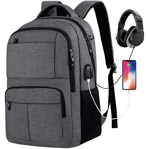 Schulrucksack Jungen Teenager,Rucksack Schule mit USB Ladeanschluss und 15.6 Zoll Laptopfach,Rucksack für Herren und Damen,für Arbeit Universität Business