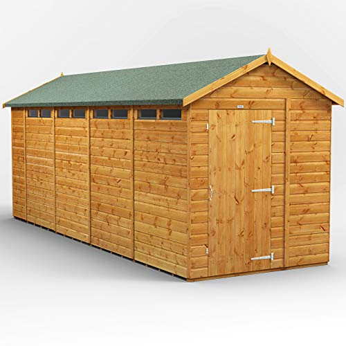 POWER | 18x6 Apex Security Wooden Garden Shed | Size 18 x 6 | Secure Sheds with super fast delivery