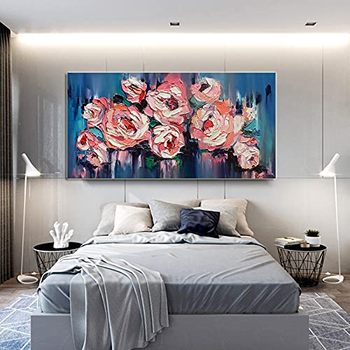 Modern Knife Pink Flower Canvas Painting Scandinavian Posters and Prints Wall Pictures for Gallery Living Room Home Decoration 30x60 CM (sin marco)