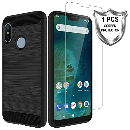 LK Funda para Xiaomi Mi A2 Lite,[Anti-Huella Digital] [Slim Fit] Funda Protectora cepillada TPU Suave con Screen Protector Vidrio Templado[1 Pack] para Xiaomi Mi A2 Lite - Negro