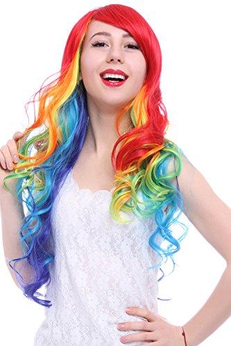 ROLECOS Peruca feminina longa ondulada, peruca sintética moderna para o dia das bruxas multicolorida