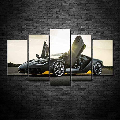 Cuadro en Lienzo Impresión de 5 Piezas Impresión Artística Imagen Gráfica Decoracion de Pared Moderno Lamborghini Auto Deportivo Black Car Enmarcado