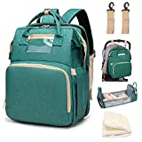 LBW 3 in 1 Diaper Bag Backpack for Baby Toddlers Travelling, Include Portable Diaper Changing Station and Foldable Bassinet Crib with Mattress, Green