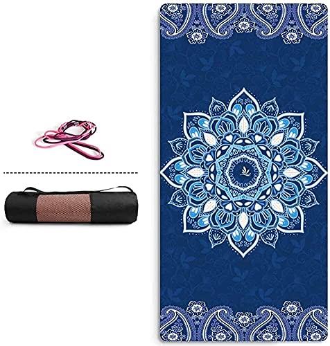 Estera de yoga de 6 mm de grosor de espesor Impresa impresa Microfibra Diseño de viaje Ejercicio Ejercicio esteras Fácil de transportar, estera de entrenamiento ( Color : A , Size : 183x66cmx6mm )