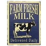 Barnyard Designs Farm Fresh Milk Delivered Daily Retro Vintage Tin Bar...