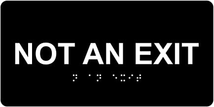 Not an Exit Sign, ADA-Compliant Braille and Raised Letters, 8x4 in. White on Black Acrylic with Adhesive Mounting Strips by ComplianceSigns